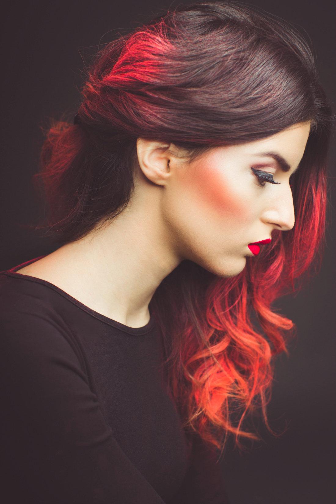 Омбре яркое на рыжие волосы