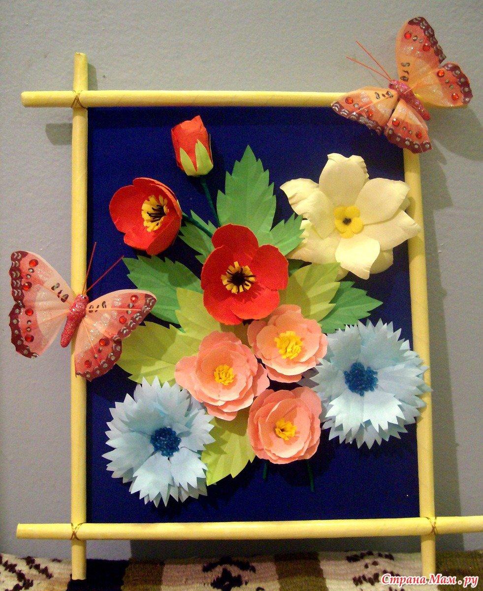 Панно из цветов из ткани своими руками