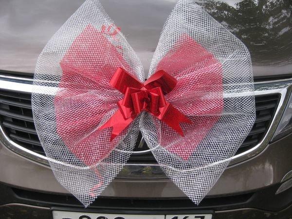 Как крепить бант на свадебную машину своими руками из фатина 42