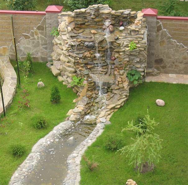 Водопад со стены своими руками на даче 35