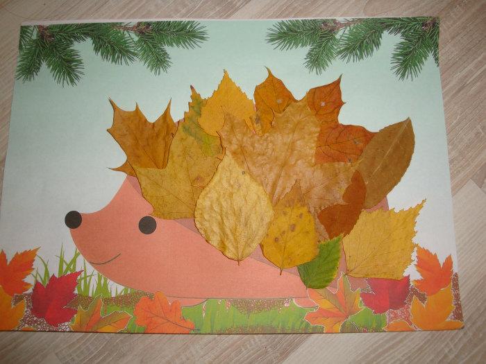 Ежик с листьями поделка 59