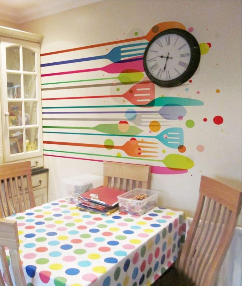 Рисунки на стенах кухни своими руками фото 68