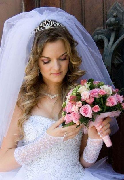 свадебные прически с фатой фото вологда