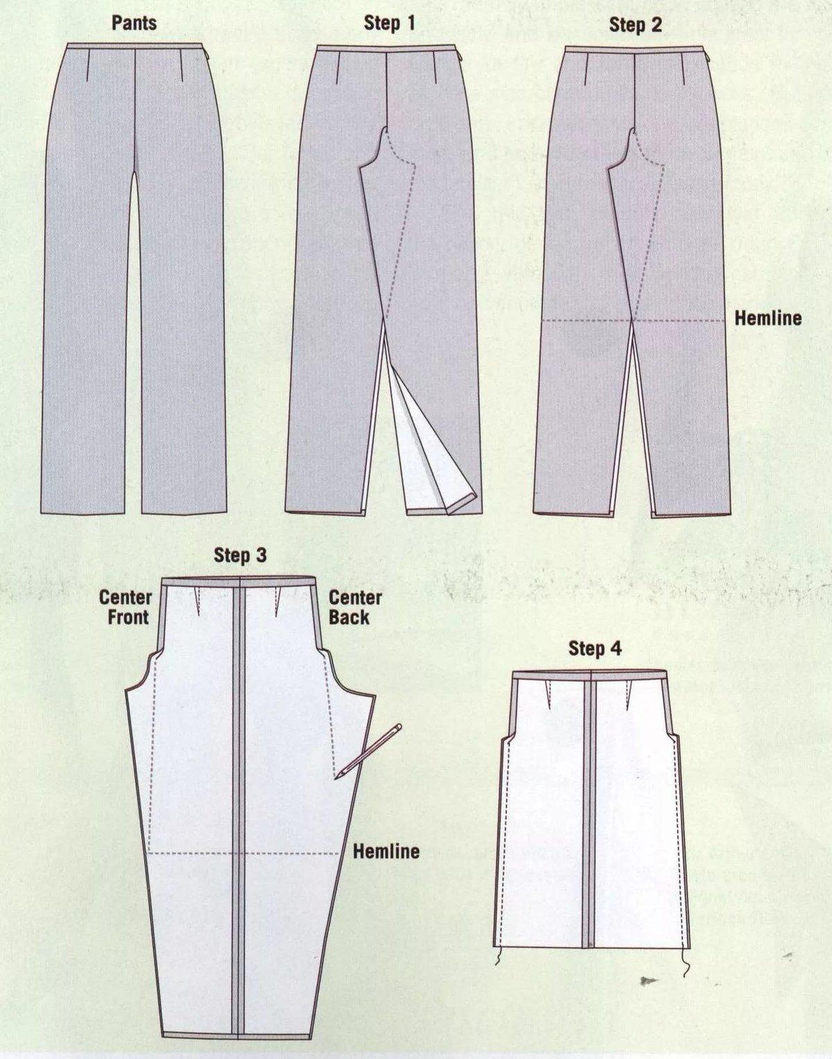 Как сделать их штанов юбку 834