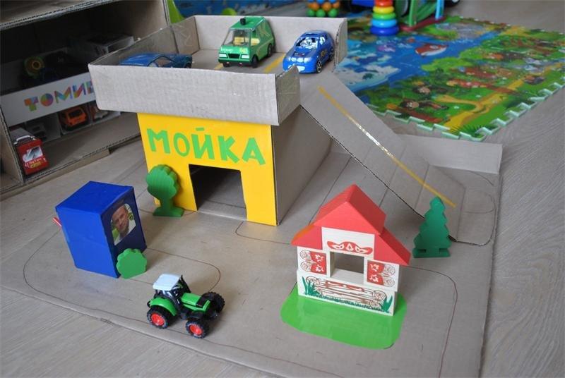 Как из коробки сделать детский гараж 967
