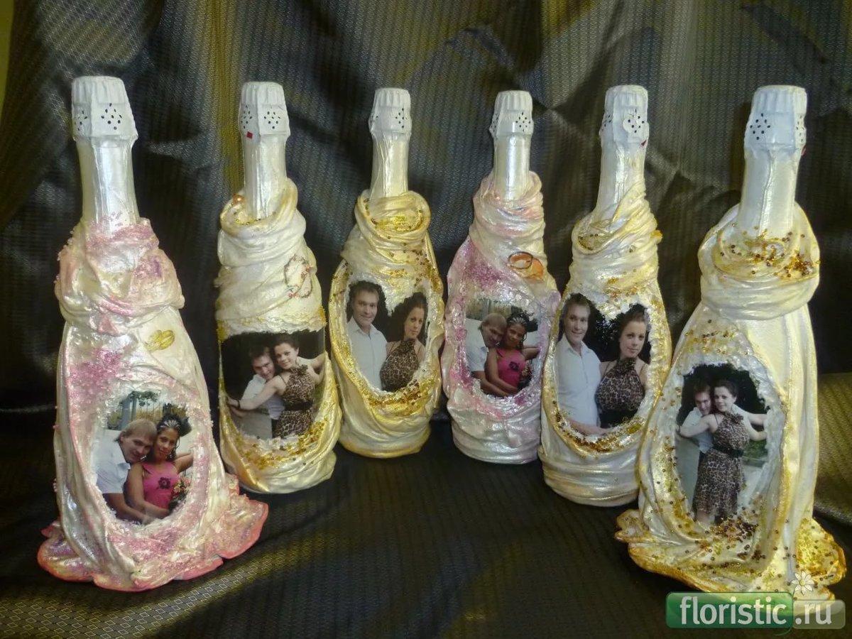 Декупаж фотографиями на бутылке