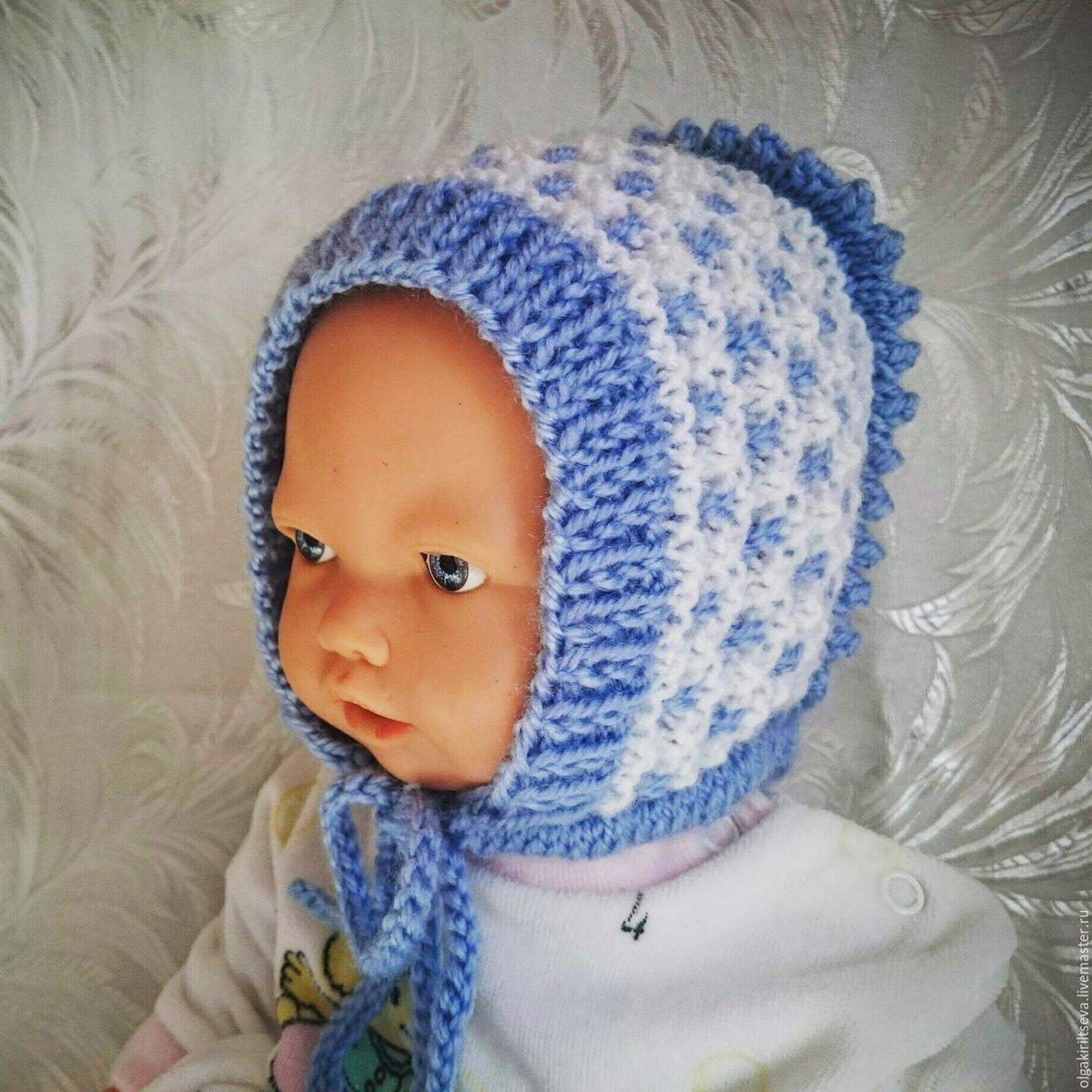 Вязание спицами шапки для детей 3 месяца