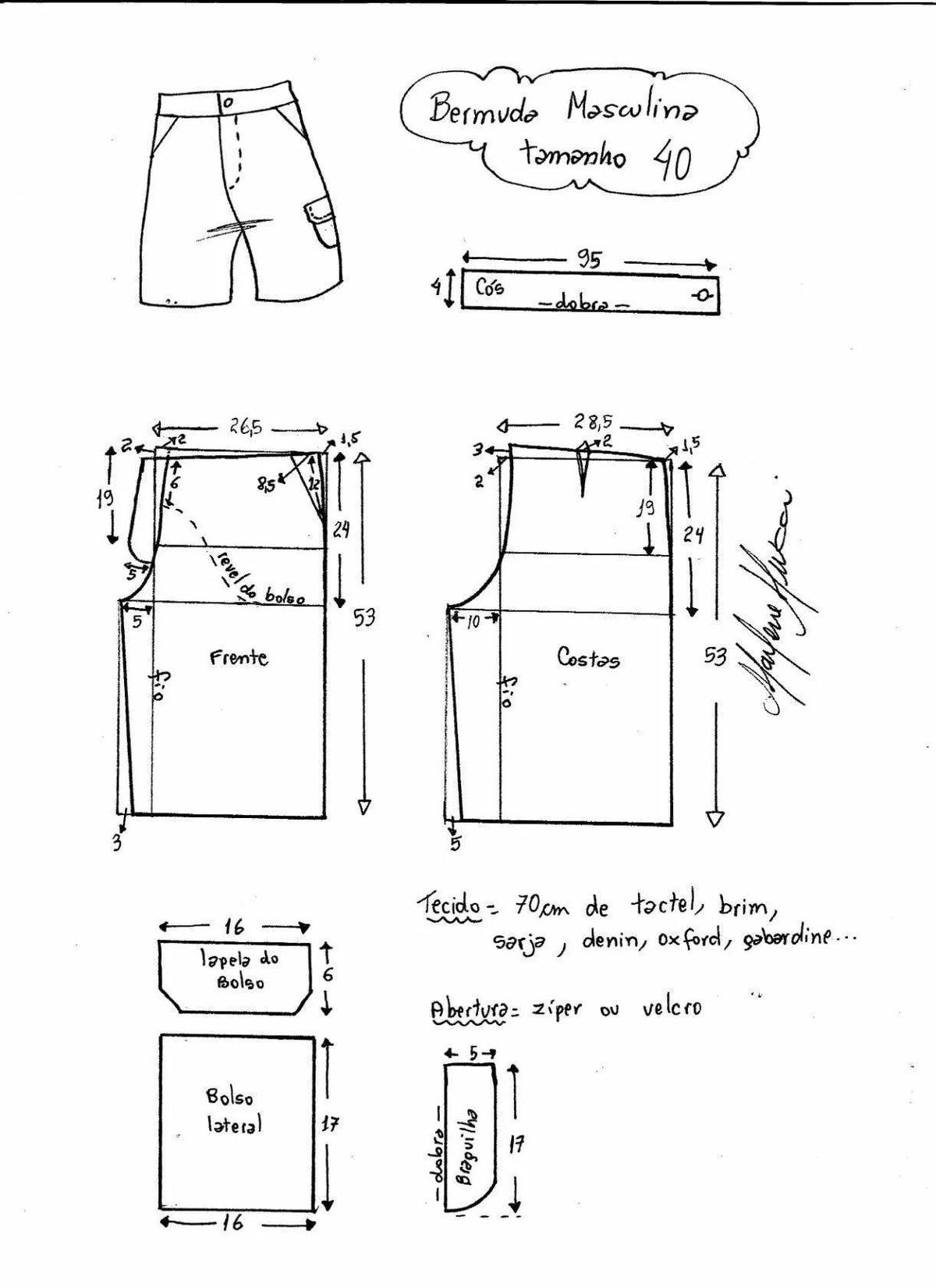 Выкройка мужских шорт от Анастасии Корфиати