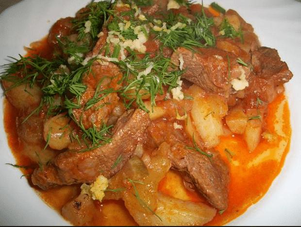 Азу по татарски с солеными огурцами и курицей рецепт с пошагово