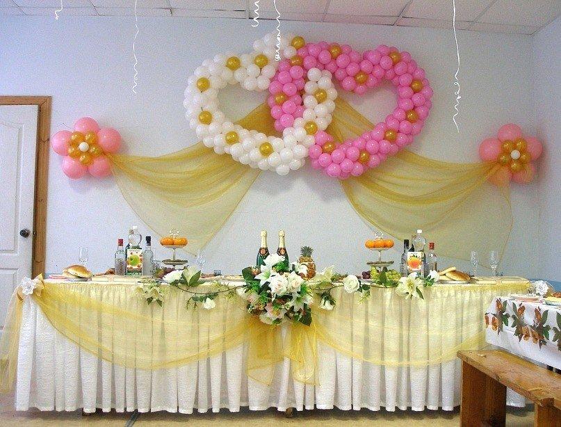 Как украсить зал на свадьбу своими руками лентами и шарами 24