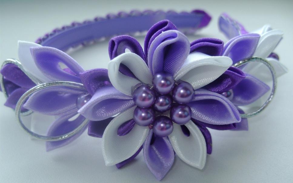 Цветы из лент на ободок своими руками мастер класс канзаши 40