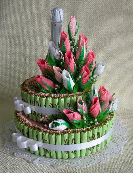 Торт из конфет с шампанским пошаговое фото для начинающих