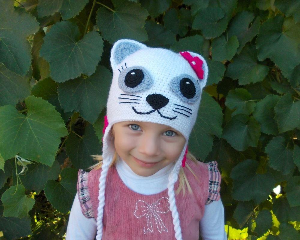 Вязание спицами детской шапочки кошка