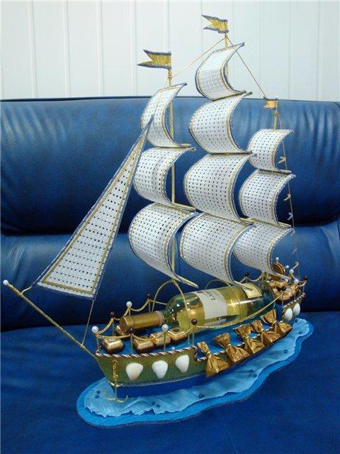 Корабль своими руками из конфет и шампанского своими руками 52