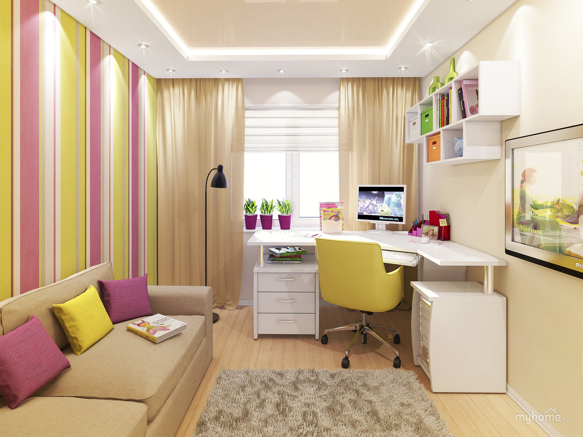 Комната 12 метров как расставить мебель фото для двоих детей