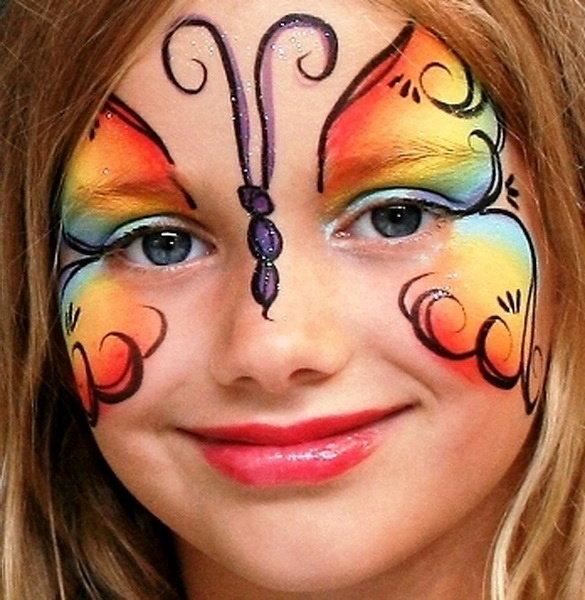 Как нарисовать бабочку на лице ребенка фото поэтапно