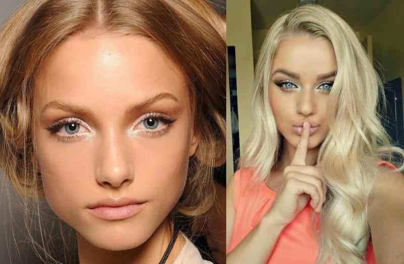 Дневной макияж для голубых глаз блондинке с