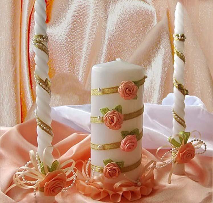 Украшение свадебных свеч своими руками 633