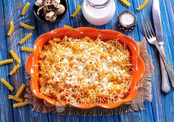 Запеканка из макарон с сыром и яйцом в духовке пошаговый рецепт с на