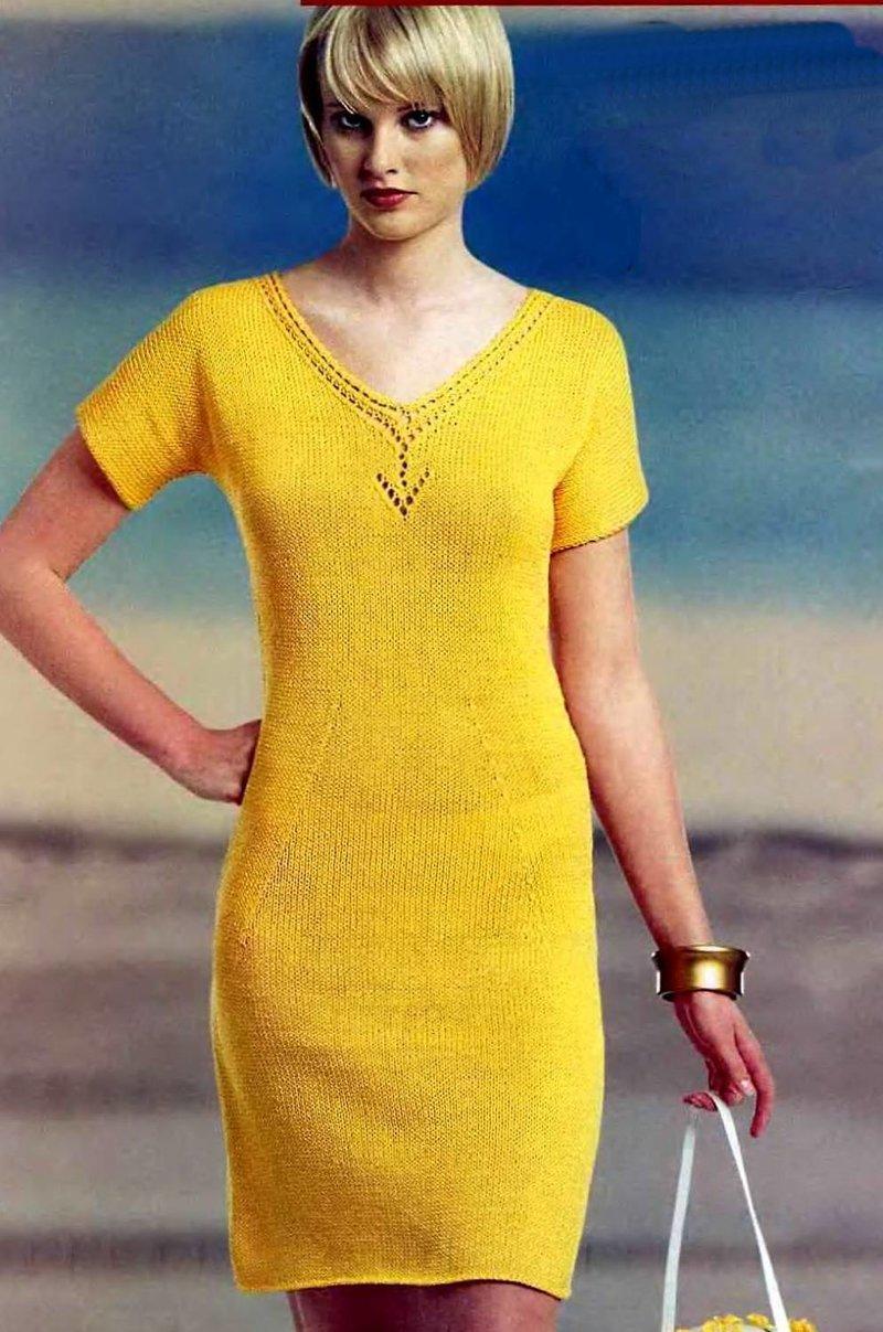 Вырез на платье вязание