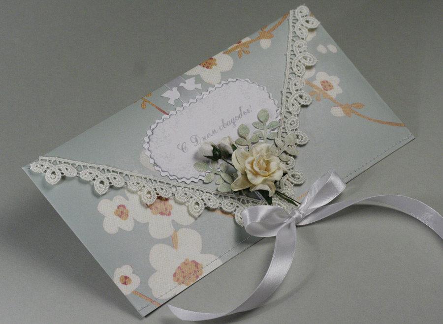 Открытка своими руками на свадьбу с конвертом 34
