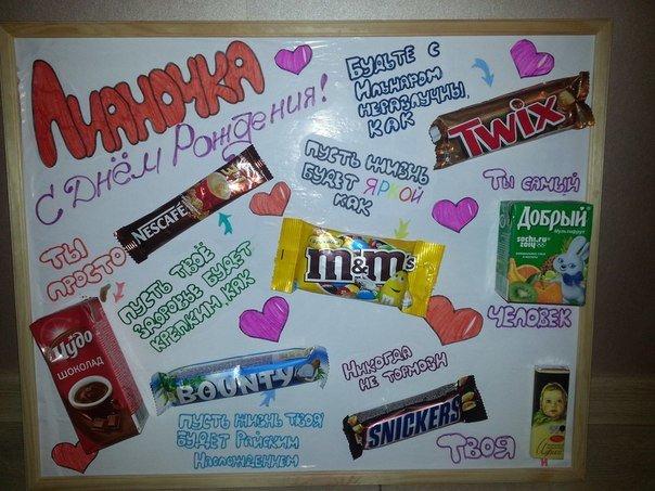 Плакат с днём рождения своими руками подруге из сладостей
