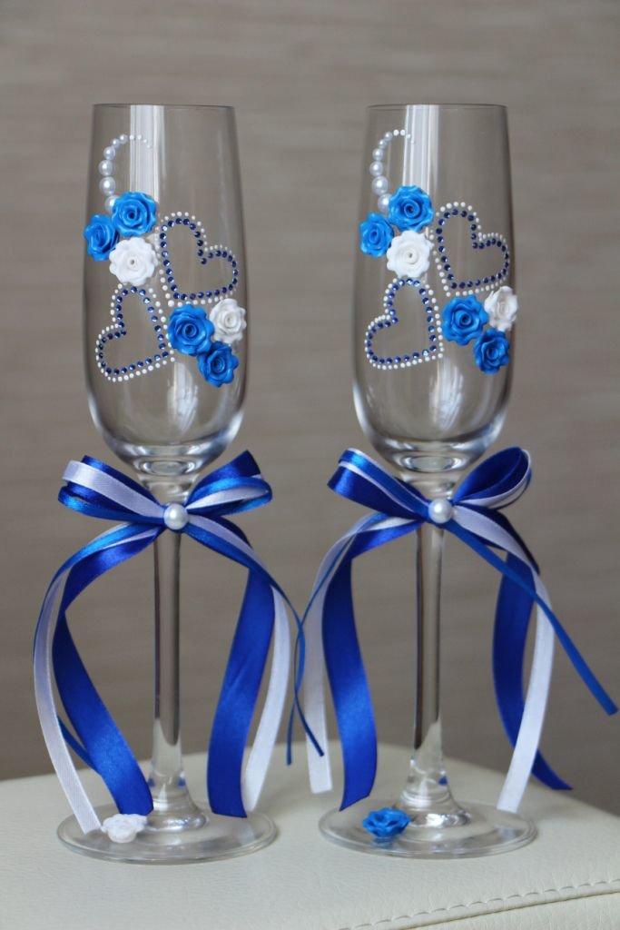 Бокалы для свадьбы своими руками в синем цвете 117