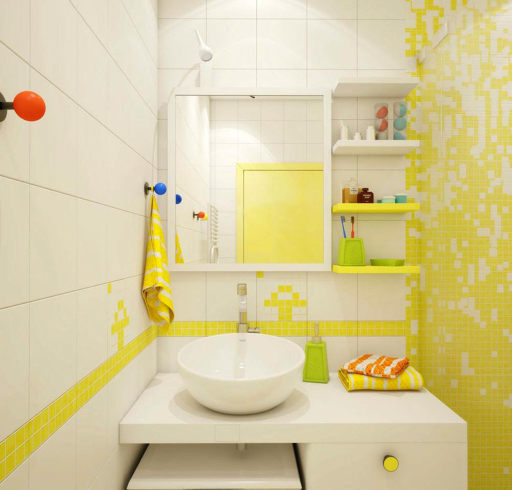 Дизайн ванной комнаты желтый