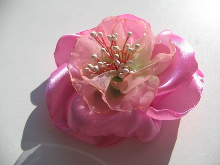 Цветы из органзы своими руками заколки