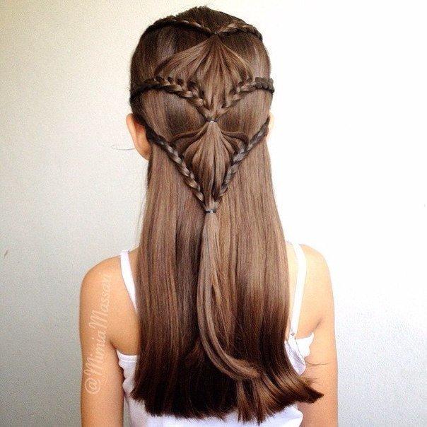 Прическа на длинные волосы на каждый день для девочек