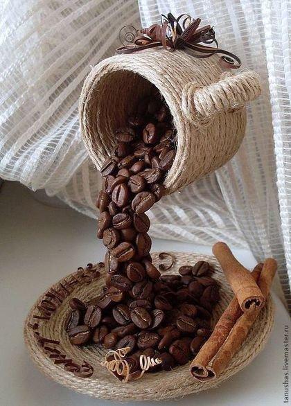 Из кофейных зерен своими руками чашка