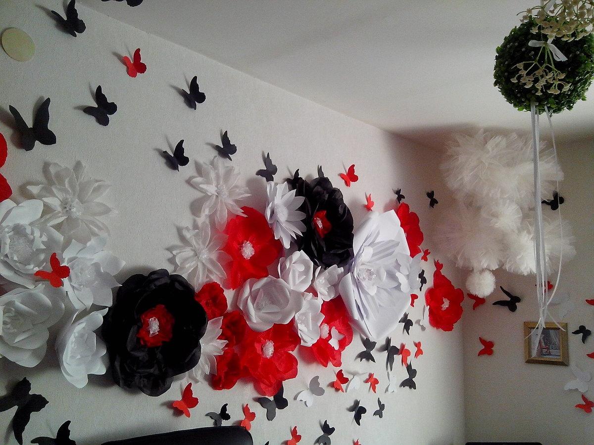 Цветы из бумаги для украшения стен своими руками 994