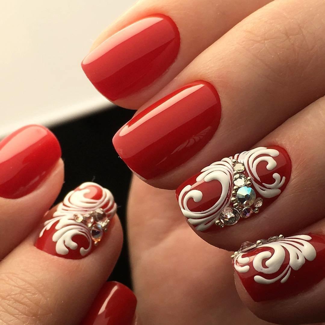 Рисунки на красных ногтях фото новинки