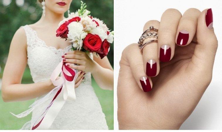 Свадебный маникюр марсала и айвори