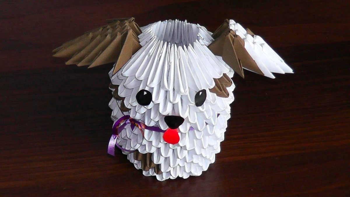 Собачка из модульного оригами 53