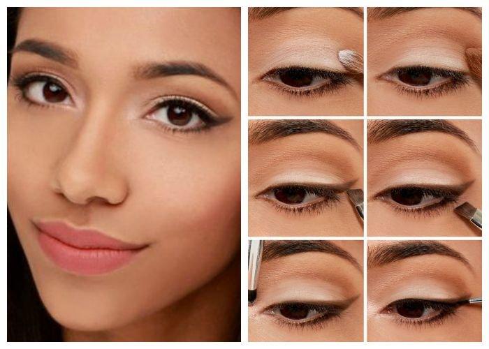 Правильный дневной макияж карим глазам