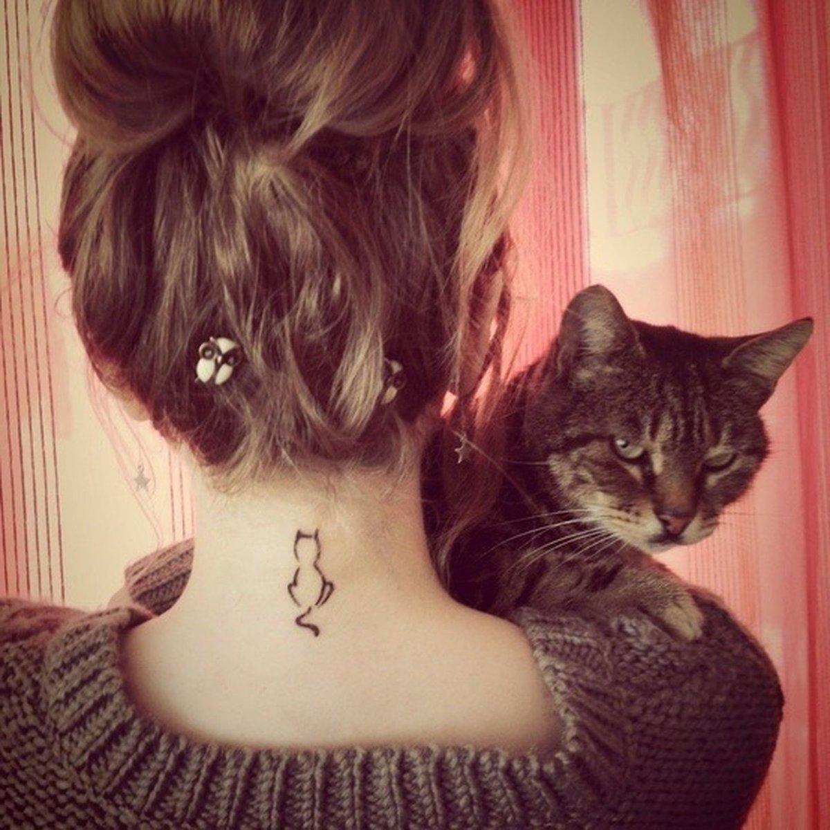 Тату у девушек фото в виде кошек
