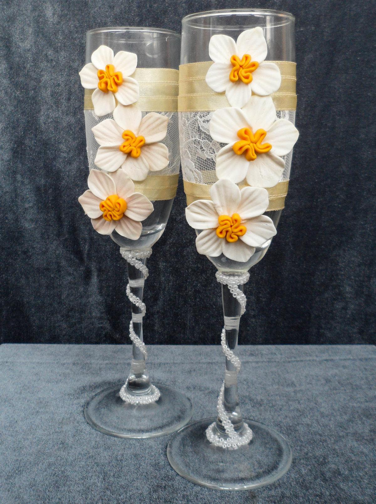 Украшения бокалов на свадьбу своими руками фото