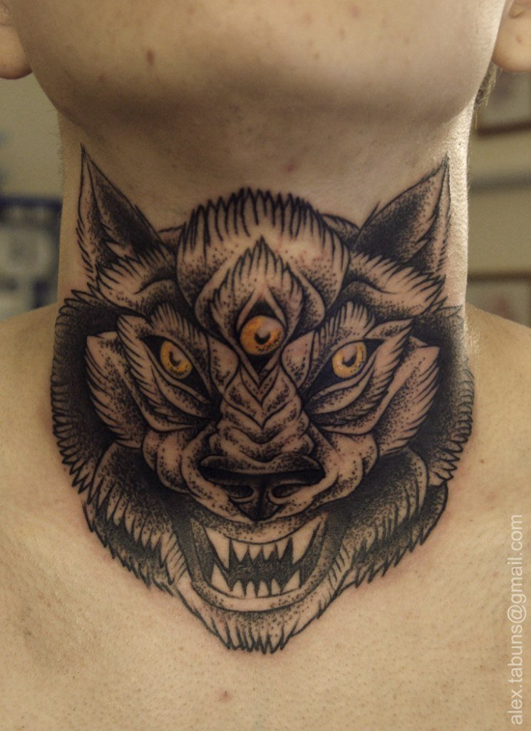 Эскиз тату волка на шее