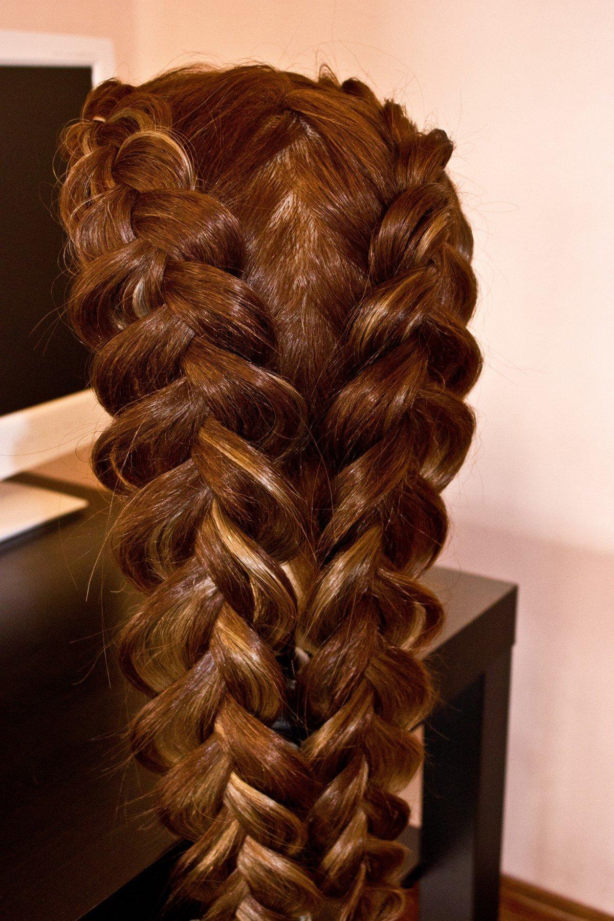 Прическа из двух объемных кос