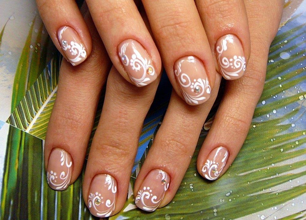 Маникюр на коротких ногтях свадебный своими руками 97