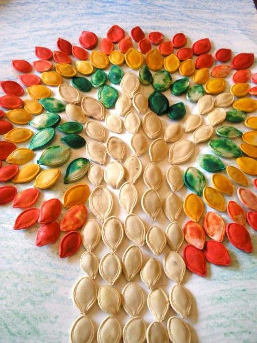 Поделки из тыквенных семечек своими руками фото для детского сада