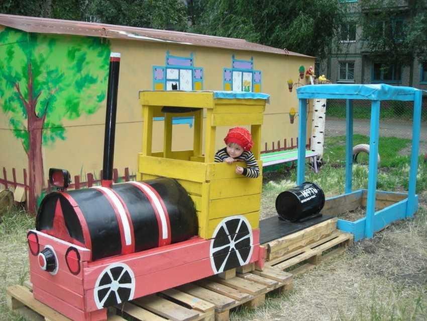 Поезд на детскую площадку своими руками 71