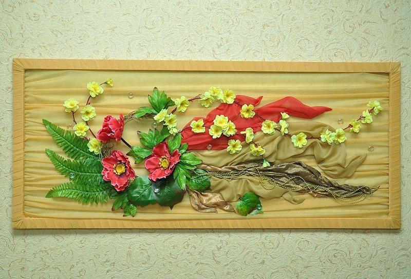 Мастер класс панно из искусственных цветов своими руками 118