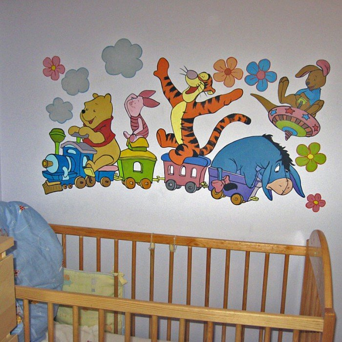 Оформление стены в детской спальне своими руками 61