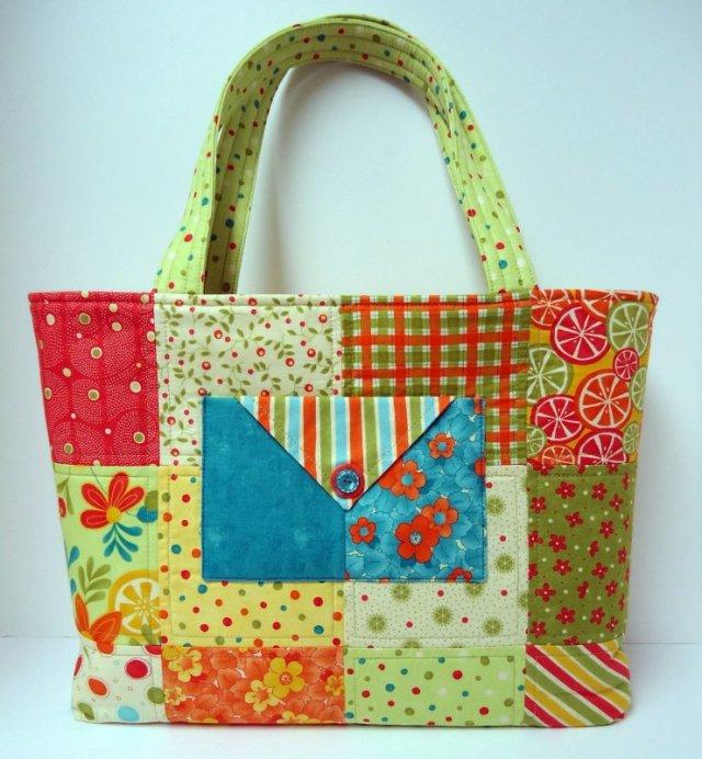 Сшить пляжную сумку в стиле пэчворк 49