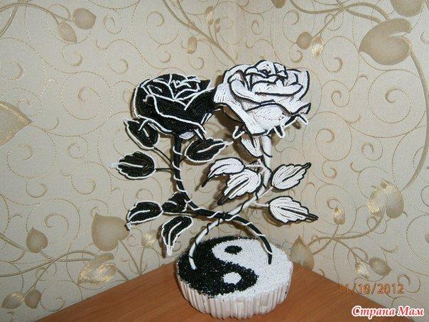 Роза инь янь из бисера схема плетения