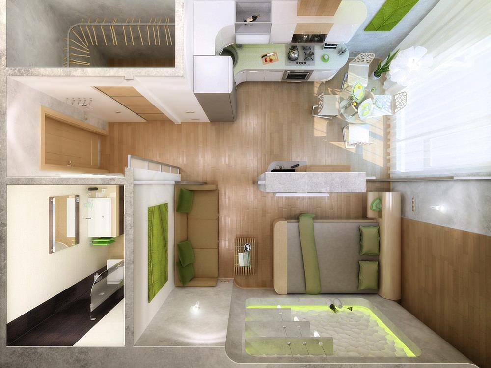 Проект дизайн студии 20 кв м