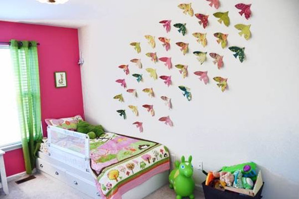 Оформление стены в детской спальне своими руками 62