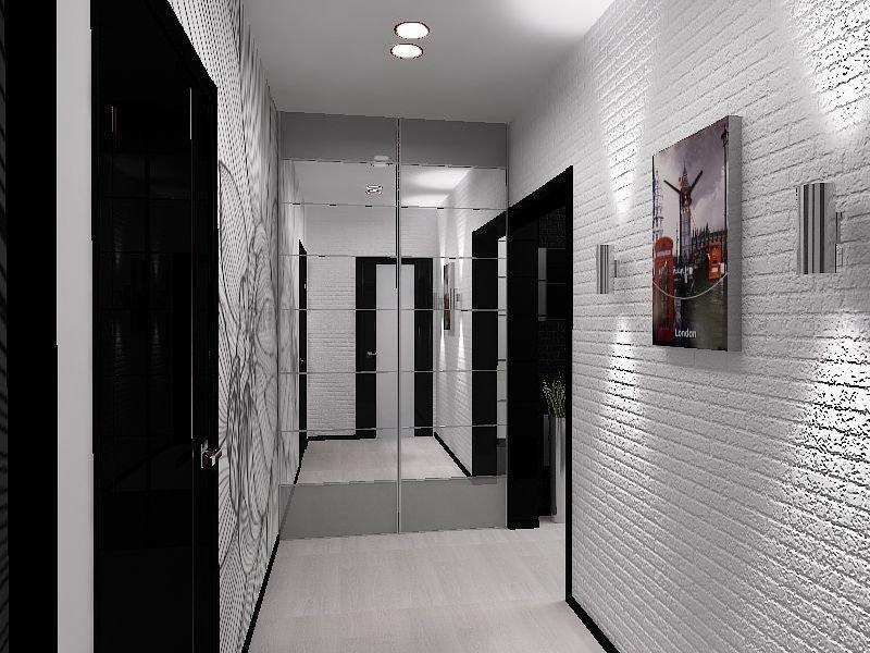 Дизайн черно белой прихожей в квартире